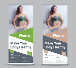 Design of a vector roll-up banner with diagonal and triangular elements and a place for photos