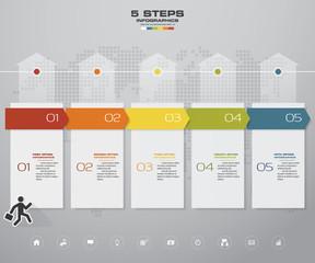 Infographics design with 5 steps timeline for your presentation. EPS 10.