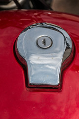 Fuel tank of a motorbike and lock