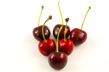 Fresh red cherries from the garden