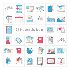 printing house flat icons. typography flat icons.