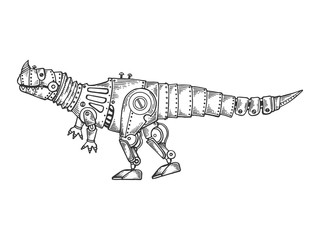 Mechanical dinosaur animal engraving vector