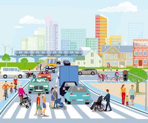 Öffentlicher Verkehr mit Fußgänger und Straßenverkehr, Illustration