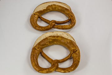 Old German pretzels on white background