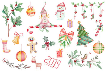 big set of watercolor Christmas symbolics. Illustration of New Year's trees, sweets and attributes isolated