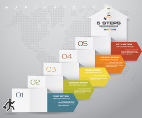 5 steps staircase with arrow banner Infographic element for presentation. EPS 10.