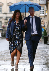 England cricket player Ben Stokes and his wife Clare Ratcliffe arrive at Bristol Crown Court, in Bristol
