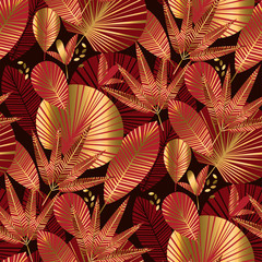 Gold and red geometric tropical seamless pattern
