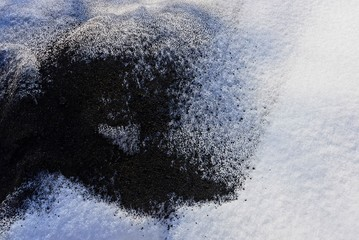 black and white texture of cold snow and ash