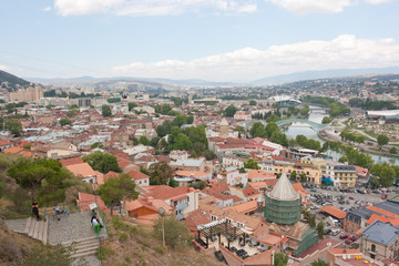 Top view of the historical center of Tbilisi from Narikala fortress. Tbilisi is the capital of Georgia