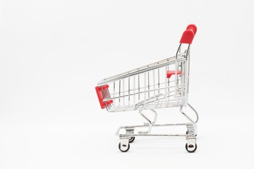 Empty grocery hand cart Shopping cart color red, Mini Supermarket Car Isolated On White Background