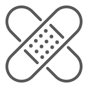 Adhesive plaster line icon, emergency and medicine, patch sign, vector graphics, a linear pattern on a white background, eps 10.