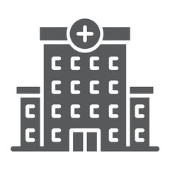 Hospital glyph icon, architecture and building, medical center sign, vector graphics, a solid pattern on a white background, eps 10.