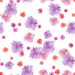 Seamless pattern with abstract pink, purple and purple flowers on a white background.Can be used for the design of perfume packaging, gift wrapping, cosmetics, for textiles, wedding cards