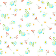 Seamless pattern with blue, turquoise and orange flowers, a twig with red flowers and a green abstract branch on a white background.