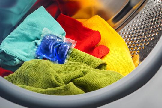 blue liquid coloured detergent