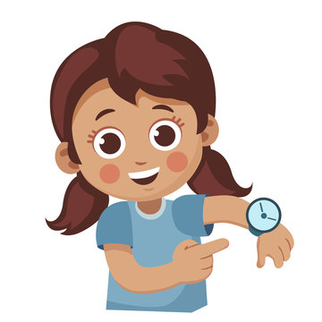 cute little girl showing her wrist watch. Happy child shows a time. Cartoon vector illustration