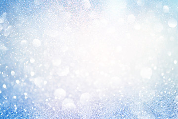 blue glittering christmas lights. Blurred abstract background