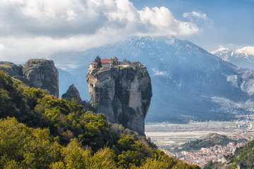 Monastery Holy Trinity in morning , Meteora , Greece