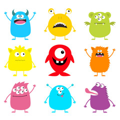 Cute monster icon set. Happy Halloween. Cartoon colorful scary funny character. Eyes, tongue, hands up. Funny baby collection. White background Isolated. Flat design.
