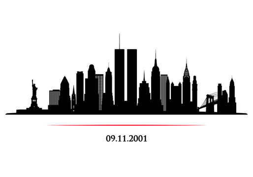New York City Skyline with twins tower. World Trade Center. 09.11.2001 American Patriot Day anniversary banner. Vector illustration.