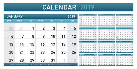 Calendar Planner 2019 year. Simple minimal wall type calendar template. Week starts from sunday. vector illustrator