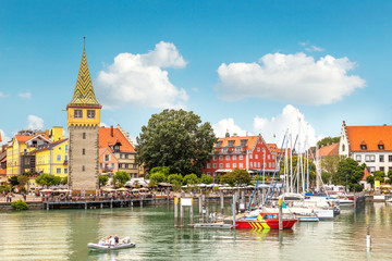 Harbor, promenade Seepromenade and the Mangturm tower in Lindau, a town on Lake Constance (or Bodensee) in Bavaria, Germany