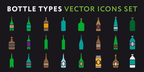 Glass Bottle Types. Alcohol Beverage Bar Drink Concept. Minimal Color Flat Icon Set.