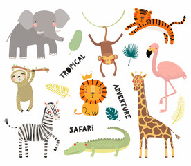 Foto auf Leinwand Abbildungen Set of cute funny animals flamingo, sloth, crocodile, elephant, giraffe, lion, tiger, monkey, zebra. Isolated objects on white. Vector illustration Scandinavian style design Concept kids print