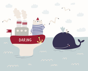 Foto op Canvas Illustraties Hand drawn vector illustration of a cute funny sailor bear sailing on a ship, whale swimming in the sea, seagulls, clouds. Scandinavian style flat design. Concept for kids, nursery print.
