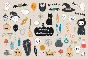 Poster Illustrations Big set of kawaii funny Halloween elements, with text, pumpkins, ghosts, monsters, zombie, death, candy, balloons. Isolated objects. Hand drawn vector illustration. Line drawing Design concept print