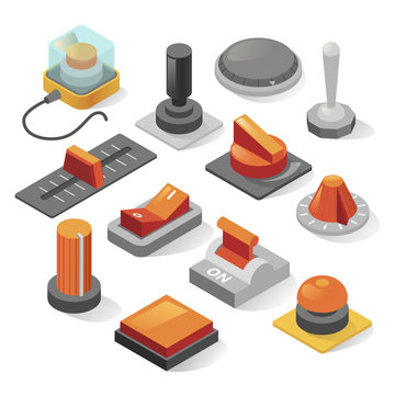 Isometric buttons vector set isolated from background