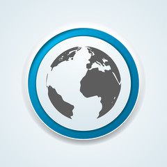 Earth Planet button illustration