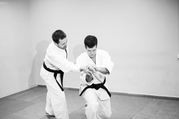 Fight between two aikido fighters