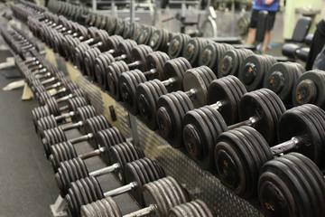 Deurstickers Fitness row of dombbells