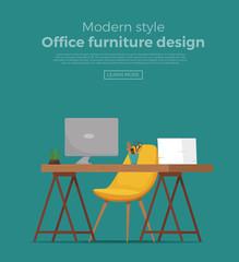 Office workplace interior cartoon design.