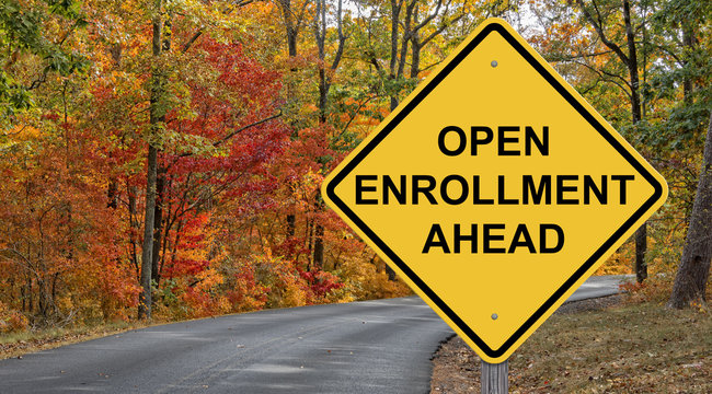 Open Enrollment Ahead Caution Sign