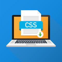 Download CSS button on laptop screen. Downloading document concept. File with CSS label and down arrow sign. Vector illustration.