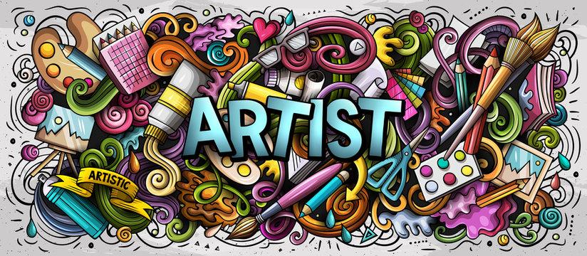 Cartoon cute doodles Artist word