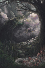 Mysterious forest landscape with trees, mist and mushrooms. Fairytale scenery background. Hand drawn illustration.
