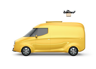 Side view of delivery drone takeoff from yellow electric delivery van isolated on white background. Copy space on the body. 3D rendering image.