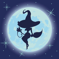Vector illustration of a sexy witch silhouette over a blue dark night sky.