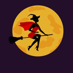 Halloween witch flying on broom in background of moon