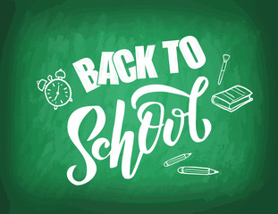 Hand sketched Back to school lettering on green blackboard with picture of apple, flask, book. Perfect design for banner, flyer, greeting cards, posters, T-shirts. Flat scratched Vector illustration