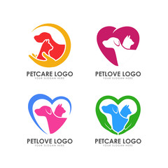 pet love logo design. pet care logo design