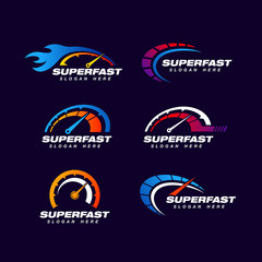 speed logo design template. fast logo design template. speedometer vector icon