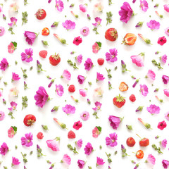 Fototapete - Composition seamless pattern from plants, berries, wild flowers mallow isolated on white background, flat lay, top view.