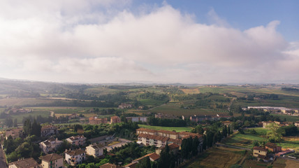 Aerial drone view of Vinci village, Toscana, Italy. Typical rural village of Italy