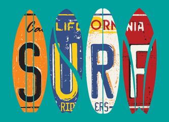 Obraz Basic CMYKCalifornia surf rider license plate vector grunge patchwork - fototapety do salonu