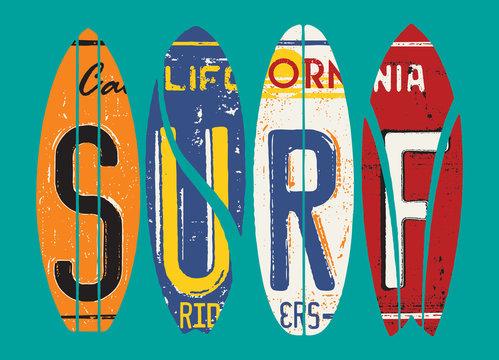 Basic CMYKCalifornia surf rider license plate vector grunge patchwork
